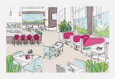 Colored freehand sketch of furnished interior of fancy restaurant or bistro. Colorful drawing of modern spacious cafe or. Coffee house full of stylish Stock Photography