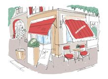 Colored freehand sketch of small sidewalk cafe or restaurant with table decorated with potted plant and chairs standing on city st Royalty Free Stock Photo
