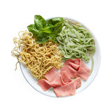 Colored Fresh Homemade Pasta Isolated. On white Royalty Free Stock Image