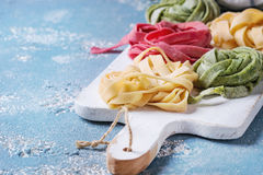 Colored fresh homemade pasta tagliatelle Royalty Free Stock Images