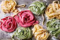 Colored fresh homemade pasta tagliatelle Royalty Free Stock Image