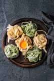 Colored fresh homemade pasta tagliatelle Royalty Free Stock Photo
