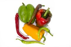 Colored Fresh paprika and hot pepper Stock Images