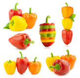 Colored Fresh Peppers -  big Set - Different compositions - Isol Stock Image