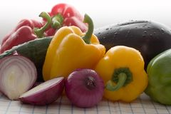 Colored Fresh Vegetables. Washed fresh vegetables on the table Royalty Free Stock Images