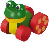 Colored frog toy on wheels Stock Images