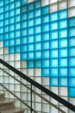 Colored frosted glass blocks corridor with staircase. Detail of retro styled interior Stock Photo