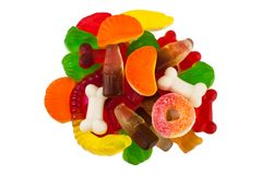 The colored fruit jelly sweets. On white background Stock Images