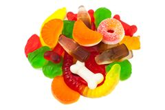 The colored fruit jelly sweets. On white background Royalty Free Stock Image