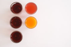 Colored fruit juices Stock Images