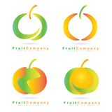 Colored fruit logo set Stock Images