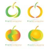Colored fruit logo set. Creative set of fruit logo icons like apple or orange Stock Images