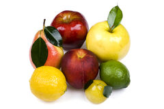 Colored fruit on white background Royalty Free Stock Images
