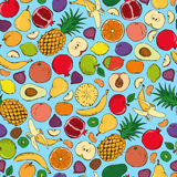Colored fruits doodle seamless Royalty Free Stock Photo