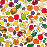Colored fruits doodle seamless on white background Stock Photos