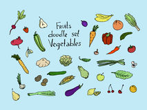 Colored Fruits and vegetables Sketch set Royalty Free Stock Photo