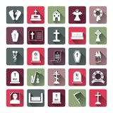 Colored Funeral Icon Set Royalty Free Stock Images