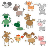 Colored funny animals. Illustration of a colored funny animals Stock Photos