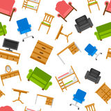 Colored furniture vector seamless pattern Royalty Free Stock Photo