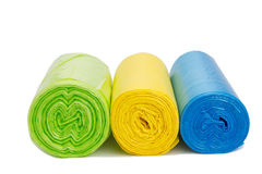 Colored garbage bags roll Royalty Free Stock Image