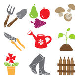 Colored gardening icons - tools and plants Stock Photos