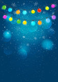 Colored garland  in blue background. Vector EPS 10. Stock Photos