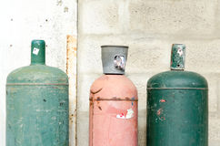 Colored gaz bottles in the street Stock Photos