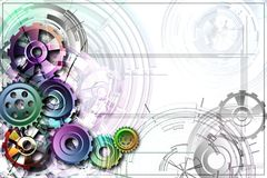 Colored gear in the corner on a white background. Abstract background to create banners, covers, posters, cards, etc Royalty Free Illustration