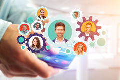 Colored gear wheel interface with business people portrait insid. View of Colored gear wheel interface with business people portrait inside - Network concept Stock Photos