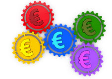 Colored gears and euro sign Stock Images