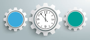 3 Colored Gears Infographic Header Clock. 3 colored gears with clock on the gray background Stock Photos