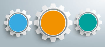 3 Colored Gears Infographic Header. 3 colored gears on the gray background Royalty Free Stock Image