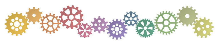 Colored gears row for cooperation symbolism. Colored gears row for cooperation or teamwork symbolism Stock Images