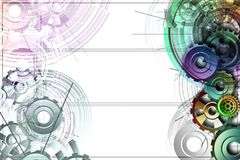 Colored gears on a white background with schemes. Abstract background to create banners, covers, posters, cards, etc Stock Illustration