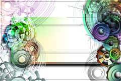 Colored gears on a white background with schemes. Abstract background to create banners, covers, posters, cards, etc Royalty Free Illustration