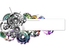 Colored gears on a white background with schemes. Abstract background to create banners, covers, posters, cards, etc vector illustration