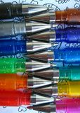 Colored gel pens. Multi-colored pens, close-up Stock Photography