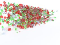 Colored gems. River of colorful gemstones on a white background vector illustration