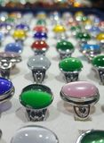 Colored gems arrangement stock images