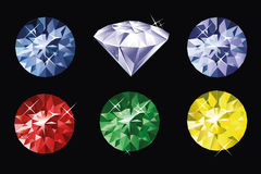 Colored gems. On balck background royalty free illustration