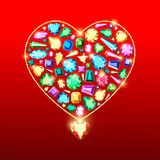 Colored gems of different cut. Gold chain with a diamond heart.Postcard with colorful gems. Colored gems of different cut. Greeting card with Valentine`s Day stock illustration