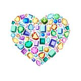 Colored gems of different cut. Heart of gems. Postcard with colorful gems . Multicolored diamonds of various cuts. Heart of gems. Stylish accessories for women vector illustration
