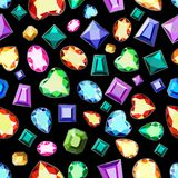 Colored gems of different cut. A pattern of colored gemstones o. A pattern of colored gemstones of various cuts. Postcard with colorful gems. Colored gems of vector illustration