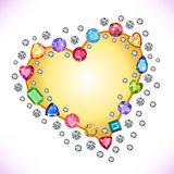 Colored gems heart shape frame isolated on light background Royalty Free Stock Photography