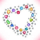 Colored gems heart shape frame isolated on light background Royalty Free Stock Photos