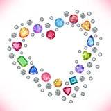 Colored gems heart shape frame isolated on light background. Vector illustration vector illustration