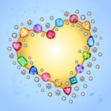 Colored gems heart shape frame isolated on light blue background Stock Images
