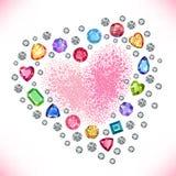 Colored gems heart shape frame. On light background, vector illustration stock illustration