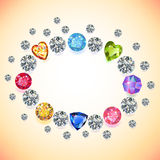 Colored gems oval frame isolated on light background Stock Images