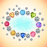 Colored gems oval frame. On light background, vector illustration vector illustration